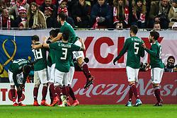November 13, 2017 - Gdansk, Poland - Raul Jimenez (MEX)  celebrates a goal during the International Friendly match between Poland and Mexico at Energa Stadium in Gdansk, Poland on November 13, 2017. (Credit Image: © Foto Olimpik/NurPhoto via ZUMA Press)