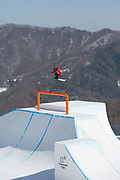 James Woods, Great British freeskier, during slopestyle practice at the Pyeongchang 2018 Winter Olympics on February 15th 2018, at the Phoenix Snow Park in Pyeongchang-gun, South Korea.