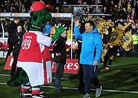 Football - 2016 / 2017 FA Cup - Fifth Round: Sutton United vs. Arsenal<br /> <br /> Sutton Manager Paul Doswell greets Arsenal Mascot Gunnarsauras  at Gander Green Lane.<br /> <br /> COLORSPORT/ANDREW COWIE