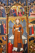 Gothic painted Panel Altarpiece of Saint Stephen by  Jaume Serra. Tempera, gold leaf and metal plate on wood. Circa 1385. Dimensions 185.7 x 186.5 x 11 cm. From the monastery of Santa Maria de Gualter (Noguera).. National Museum of Catalan Art, Barcelona, Spain, inv no: 003947-CJT .<br /> <br /> If you prefer you can also buy from our ALAMY PHOTO LIBRARY  Collection visit : https://www.alamy.com/portfolio/paul-williams-funkystock/gothic-art-antiquities.html  Type -     MANAC    - into the LOWER SEARCH WITHIN GALLERY box. Refine search by adding background colour, place, museum etc<br /> <br /> Visit our MEDIEVAL GOTHIC ART PHOTO COLLECTIONS for more   photos  to download or buy as prints https://funkystock.photoshelter.com/gallery-collection/Medieval-Gothic-Art-Antiquities-Historic-Sites-Pictures-Images-of/C0000gZ8POl_DCqE