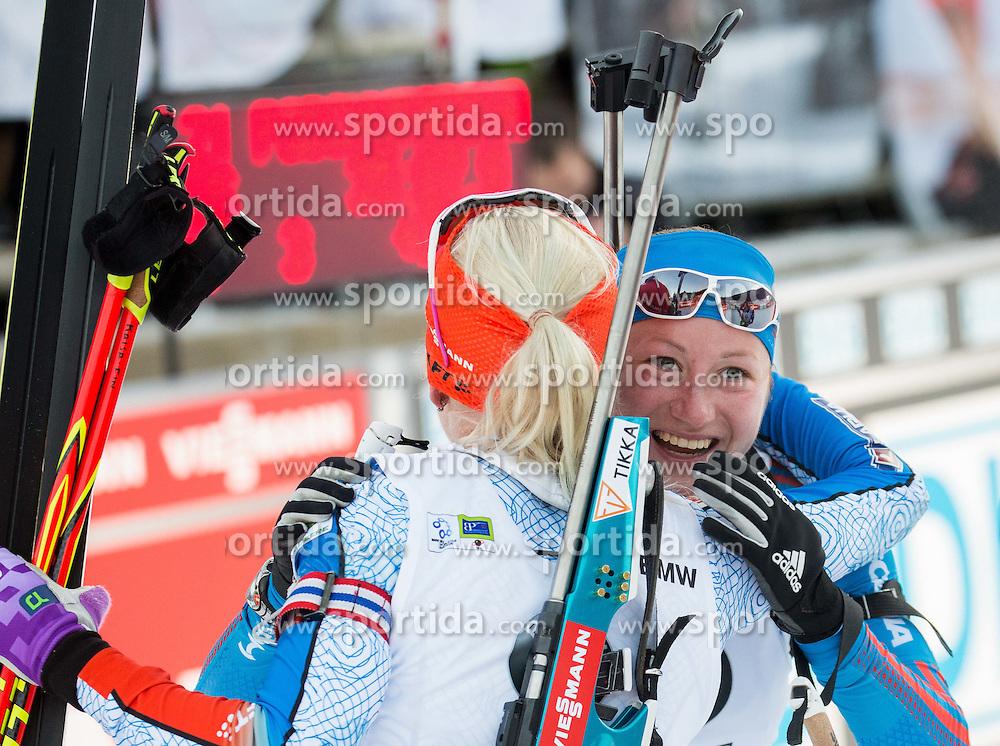 Kaisa Makarainen (FIN) and Olga Podchufarova (RUS) at finish line  during Women 12.5 km Mass Start at day 4 of IBU Biathlon World Cup 2015/16 Pokljuka, on December 20, 2015 in Rudno polje, Pokljuka, Slovenia. Photo by Vid Ponikvar / Sportida