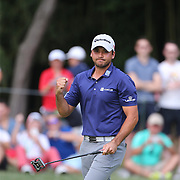 Jason Day, Australia, celebrates a birdie on the fourteenth hole during the final round while winning the The Barclays Golf Tournament by six shots at The Plainfield Country Club, Edison, New Jersey, USA. 30th August 2015. Photo Tim Clayton