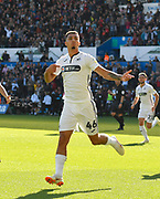 Goal - Courtney Baker-Richardson (46) of Swansea City celebrates scoring a goal to give a 1-0 lead to the home team during the EFL Sky Bet Championship match between Swansea City and Queens Park Rangers at the Liberty Stadium, Swansea, Wales on 29 September 2018.