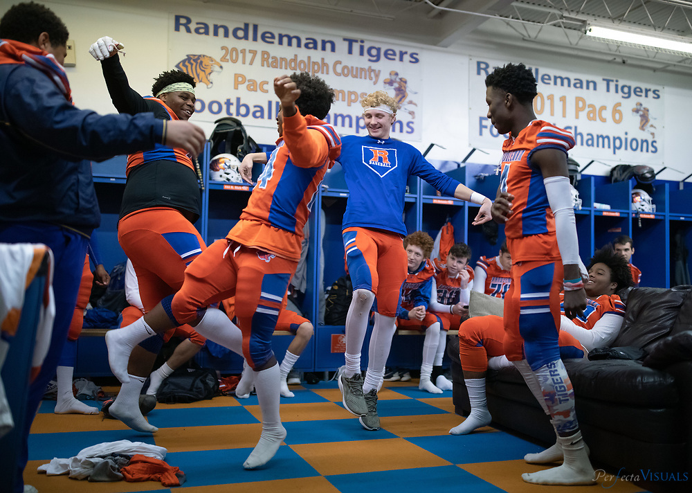 The Randleman Tigers, in their first-round playoff game, defeated Lexington Senior High School 47-0 at Charles R. Gregory Stadium. Junior running back Jaquan Snipes ran for 149 yards and two touchdowns, helping propel the Tigers into the second round of the NCHSAA 2-A state playoffs.<br /> <br /> Photographed, Friday, November 16, 2018, in Randleman, N.C. JERRY WOLFORD / Perfecta Visuals