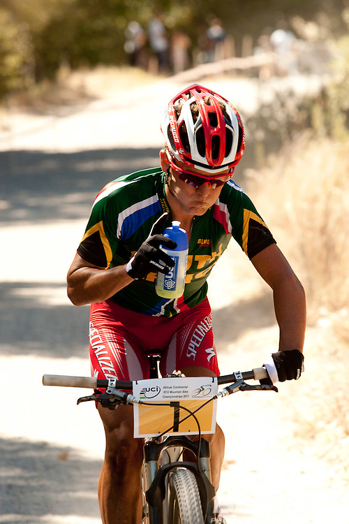 Burry Stander has a convincing win at the 2011 African Mountain Bike Championships held at Jonkershoek on the 12th of February. Stander won the elite men's competition. He described the course as the toughest he has ridden is South Africa. Image by Greg Beadle