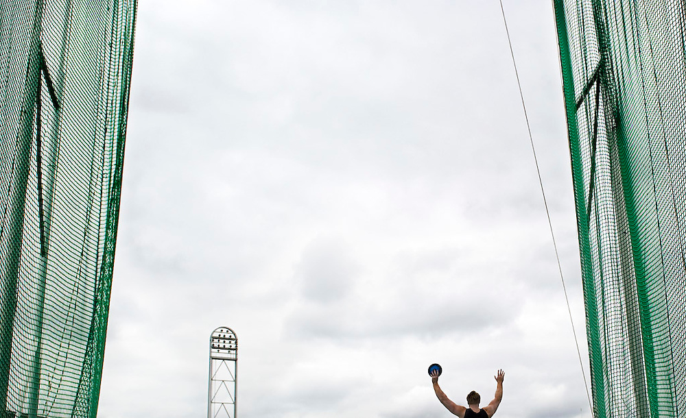 The Netherlands Amsterdam, 31-07-2011.<br /> Athletics, Dutch National Championships.<br /> Discus throw, Men.<br /> Rutger Smith celebrates the victory with his arms in the air when he realizes that he became the duitch national champion.<br /> Photo : Klaas Jan van der Weij