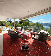 Interior of house, beautiful terrace furnished