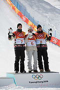 Redmond Gerard, USA 1st. Max Parrot, Canada, 2nd and Mark McMorris, Canada 3rd. Celebrations following mens Snowboard Slopestyle Finals at the Pyeongchang Winter Olympics on the 11th February 2018 in Phoenix Snow Park in South Korea