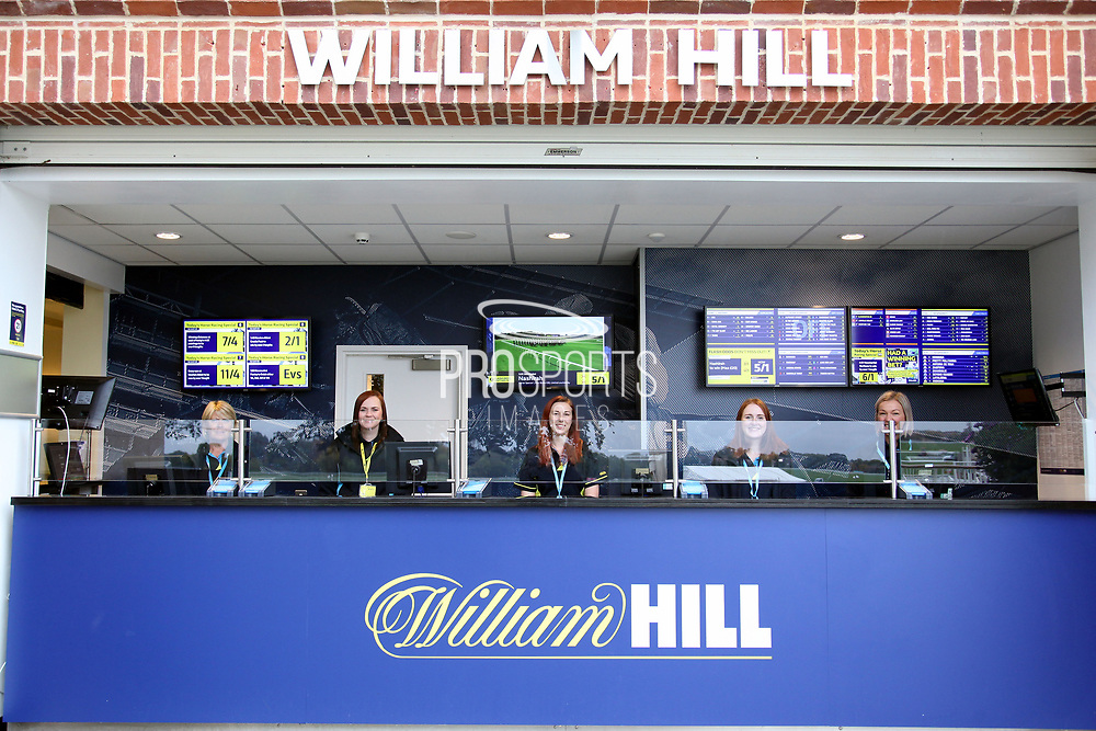 Five William Hill Clerks ready for business prior to the Countryside Raceday, October Finale at York Racecourse, York, United Kingdom on 12 October 2018. Pic Mick Atkins