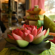 A decorative lotus flower at 'Noor Jahan', a luxury home furnishing and accessories shop located at the Santushti Shopping complex. New Delhi