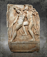 Roman Sebasteion relief sculpture of Achilles and a dying Amazon, Aphrodisias Museum, Aphrodisias, Turkey. Achilles supports the dying Amazon queen Penthesilea whom he has mortally wounded. Her double headed axe slips from her hands. The queen had come to fight against the Greeks in the Trojan war and Achilles fell in love with her.  wall art print by Photographer Paul E Williams .<br /> <br /> If you prefer visit our World Gallery Print Shop To buy a selection of our prints and framed prints desptached  with a 30-day money-back guarantee and is dispatched from 16 high quality photo art printers based around the world. ( not all photos in this archive are available in this shop) https://funkystock.photoshelter.com/p/world-print-gallery
