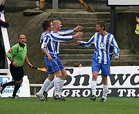 Photo: Andrew Unwin.<br />Hartlepool Utd v Swansea. Coca Cola League 1.<br />17/09/2005.<br />Hartlepool's Antony Sweeney (R) celebrates equalising for his team.
