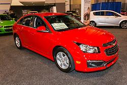 CHARLOTTE, NORTH CAROLINA - NOVEMBER 20, 2014: Chevrolet Cruze sedan on display during the 2014 Charlotte International Auto Show at the Charlotte Convention Center.