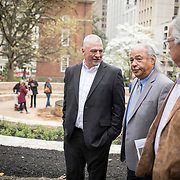 during the dedication ceremony for Mantle: Virginia Indian Tribute, a monument designed on Virginia State Capitol Square, in Richmond, Virginia, on Tuesday, April 17, 2018. John Boal Photography