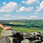 A drystone waller's hand leans on a wall he is working on, Upper Nidderdale, North Yorkshire, UK. Drystone walls are used as field boundaries and are characteristic of upland areas such as Nidderdale.