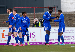 06MAR21 Queen of the South's Ayo Obileye cele scoring their fourth goal. Arbroath 2 v 4 Queen of the South, Scottish Championship played 6/3/2021 at Arbroath's home ground, Gayfield Park.