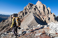 Grand Teton National Park chief climbing ranger Renny Jackson descends the North Ridge of the Middle Teton en route to the Lower Saddle after a traverse of Nez Perce and the Middle Teton in September 2010.