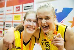 Alma Potocnik of Athlete Celje and Larisa Ocvirk of Athlete Celje celebrate after winning during basketball match between ZKK Athlete Celje and ZKK Triglav in Finals of 1. SKL for Women 2014/15, on April 20, 2015 in Gimnazija Celje Center, Celje, Slovenia. ZKK Athlete Celje became Slovenian National Champion 2015. Photo by Vid Ponikvar / Sportida