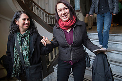December 9, 2016 - Salem, Oregon, U.S - Plaintiff KELSEY JULIANA, in red scarf,  and her mother KATIA JULIANA leave the  Oregon Court of Appeals in Salem. Juliana filed suit against Oregon Gov. Kate Brown and the state of Oregon for violating her constitutional and public trust rights. The case is seeking a court order to compel the state to take science-based action to address the climate crisis and prevent catastrophic and irreversible impacts. Juliana is also a plaintiff in the landmark federal lawsuit against  the federal government over climate change. (Credit Image: © Robin Loznak via ZUMA Wire)