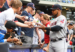 May 8, 2018 - Milwaukee, WI, U.S. - MILWAUKEE, WI - MAY 08: Cleveland Indians Designated hitter Edwin Encarnacion (10) signs autographs before a MLB game between the Milwaukee Brewers and Cleveland Indians on May 8, 2018 at Miller Park in Milwaukee, WI. The Brewers defeated the Indians 3-2.(Photo by Nick Wosika/Icon Sportswire) (Credit Image: © Nick Wosika/Icon SMI via ZUMA Press)