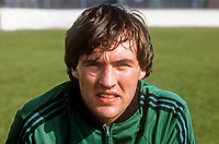 George Dunlop, Linfield FC, Belfast, N Ireland, footballer, N Ireland tracksuit, March, 1982, 198203000061GD<br /> <br /> Copyright Image from Victor Patterson, Belfast, UK<br /> <br /> t: +44 28 9066 1296 (from Rep of Ireland 048 9066 1296)<br /> m: +44 7802 353836<br /> e: victorpattersonbelfast@gmail.com<br /> <br /> www.images4media.com<br /> <br /> Please see my full Terms and Conditions of Use at https://www.images4media.com/p/terms-conditions - it is IMPORTANT that you familiarise yourself with them.<br /> <br /> Images used online incur an additional cost. This cost should be agreed in writing in advance. Online images must be visibly watermarked i.e. © Victor Patterson or that of the named photographer within the body of the image. The original metadata must not be deleted from images used online.<br /> <br /> This image is only available for the use of the download recipient i.e. television station, newspaper, magazine, book publisher, etc, and must not be passed on to a third party. It is also downloaded on condition that each and every usage is notified within 7 days to victorpattersonbelfast@gmail.com.<br /> <br /> The right of Victor Patterson (or the named photographer) to be identified as the author is asserted in accordance with The Copyright Designs And Patents Act (1988). All moral rights are asserted.