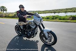 Andrea Labarbara riding her Roland Sands RSD custom on a ride through Tomoka State Park during Daytona Beach Bike Week, FL. USA. Friday, March 15, 2019. Photography ©2019 Michael Lichter.