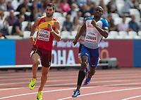 Athletics - 2017 IAAF London World Athletics Championships - Day Two (AM Session)<br /> <br /> Event: Mens 400m Heat 3<br /> <br /> Dwayne Cowan (GBR) with Samuel Garcia (ESP)<br /> <br /> <br /> COLORSPORT/DANIEL BEARHAM