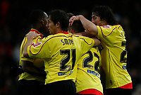 Photo: Richard Lane/Richard Lane Photography. Watford v Blackpool. Coca Cola Championship. 01/11/2008. Will Hoskins (22) is congratulated