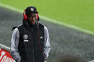Romelu Lukaku of Manchester Utd  arrives at the stadium. EFL Carabao Cup 4th round match, Swansea city v Manchester Utd at the Liberty Stadium in Swansea, South Wales on Tuesday 24th October 2017.<br /> pic by  Andrew Orchard, Andrew Orchard sports photography.