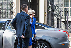 "London, UK. 21 May, 2019. Prime Minister Theresa May arrives at 10 Downing Street following a Brexit statement during which she advised MPs that the EU Withdrawal Agreement Bill presented ""one last chance"" to deliver Brexit and that MPs will be able to vote on whether to hold another referendum if they back the bill. The bill as presented also contains new guarantees on workers' rights, environmental protections and the Irish backstop together with a ""compromise"" regarding customs."