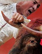 """V. 06. Valencia, 23/07/05. El torero, César Jimenez, entra a matar a su primer astado, """"Pitimini"""", durante la corrida celebrada esta tarde con motivo de la feria de julio en el coso valenciano. EFE/Kai Försterling."""