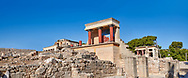 Panorama of Minoan of the North Entrance Propylaeum with its painted charging  bull releif,  Knossos Palace archaeological site, Crete