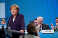 20 MAR 2010, MUENSTER/WESTF/GERMANY:<br /> Juergen Ruettgers (hinten), CDU, Ministerpraesident NRW, waehrend der Rede von Angela Merkel (vorne), CDU, Bundeskanzlerin, Landesparteitag der CDU Nordrhein-Westfalen, Halle Muensterland<br /> IMAGE: 20100320-01-154<br /> KEYWORDS: Parteitag, party congress, NRW, Münster