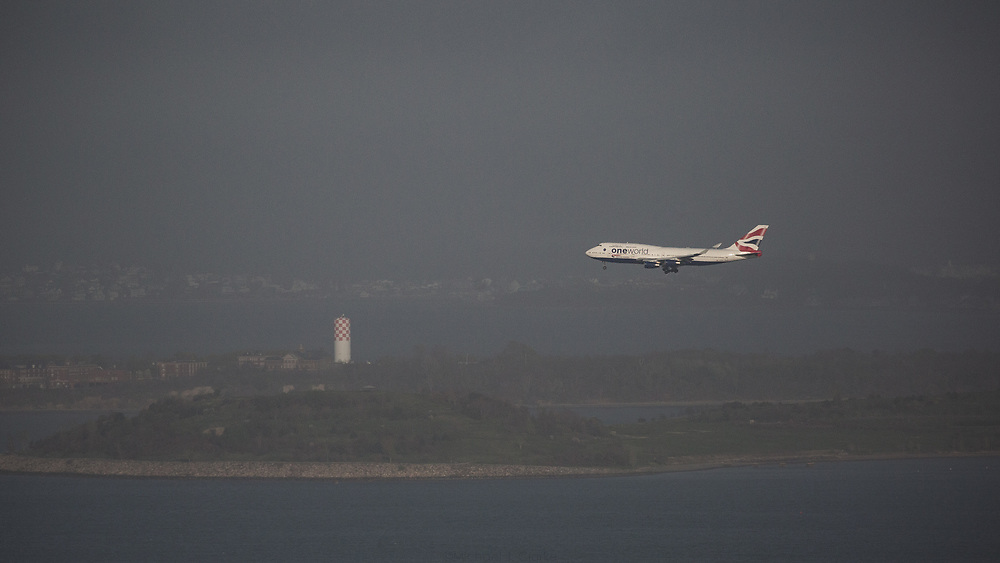 A British Airways 747 on approach into Boston's Logan International Airport on a summer afternoon.