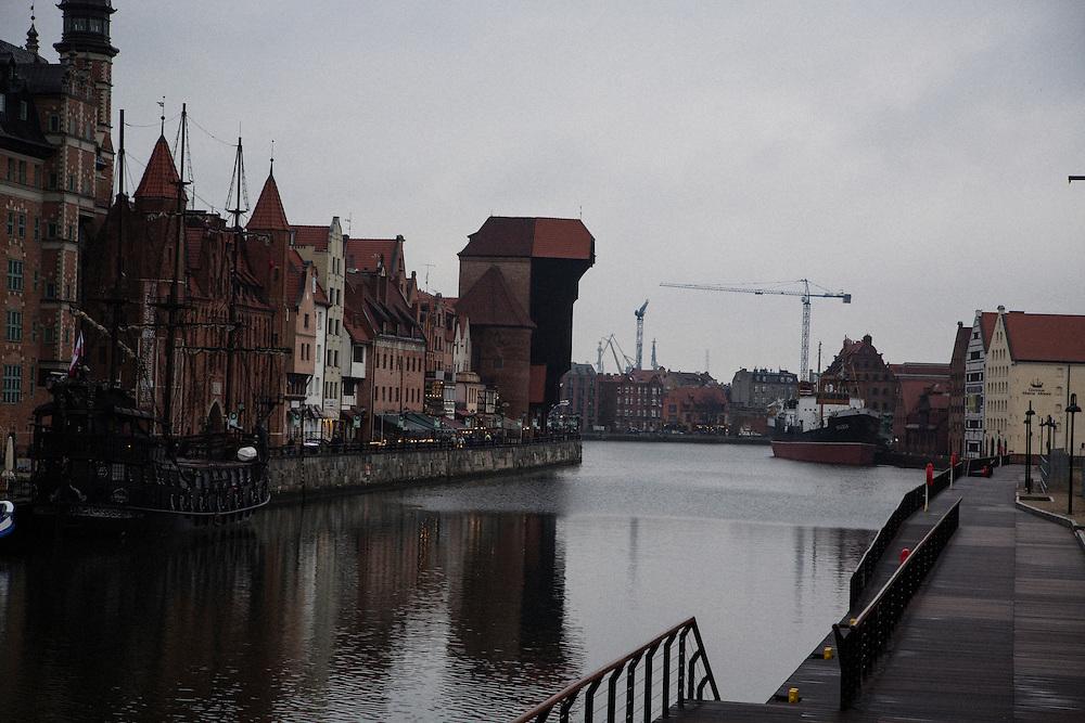 Gdansk city center with shipyards visible on horizon.<br /> <br /> Gdansk and Remontowa Shipyards