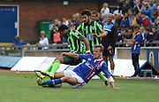 AFC Wimbledon in action during the Sky Bet League 2 match between Carlisle United and AFC Wimbledon at Brunton Park, Carlisle, England on 22 August 2015. Photo by Stuart Butcher.