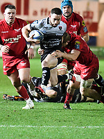Rugby Union - 2017 / 2018 European Rugby Champions Cup: Scarlets vs. RC Toulonnaise<br /> <br /> Alby Mathewson; of Toulon tackled by James Davies of Llanelli Scarlets , at Parc y Scarlets, Llanelli.<br /> <br /> COLORSPORT/WINSTON BYNORTH