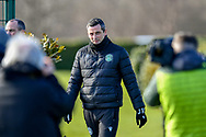 Hibernian FC manager, Jack Ross is photographed by the media as he makes his way to the training session for Hibernian FC at the Hibs Training Centre, Ormiston, Scotland on 26 February 2021, ahead of the SPFL Premiership match against Motherwell.