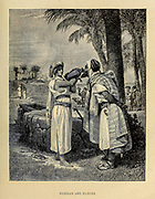 Rebekah and Eliezer at the well from ' The Doré family Bible ' containing the Old and New Testaments, The Apocrypha Embellished with Fine Full-Page Engravings, Illustrations and the Dore Bible Gallery. Published in Philadelphia by William T. Amies in 1883