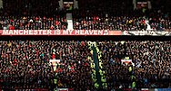 Both sets of fans bask in the late sunlight during the Premier League match at Old Trafford, Manchester. Picture date: 8th March 2020. Picture credit should read: Darren Staples/Sportimage