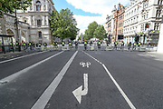 Police barricaded Downing Street entry throughout the Whitehall from Trafalgar Square down to Parliament Square on Saturday, June 20, 2020, prior to people's gathering to take part in a protest organised by Black Lives Matter, in London.<br /> Demonstrations organised by Black Lives Matter in Britain are taking place this Saturday in cities including London, Manchester, Edinburgh and Glasgow. Police are guarding the unboxed monuments that have become major focuses of contention in demonstrations against racism and police violence. <br /> Anger against systemic levels of institutional racism have raged through the city, and worldwide; sparked by the death of George Floyd in the United States last month. (Photo/ Vudi Xhymshiti)