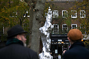Statue dedicated to the feminist Mary Wollstonecraft on display at Newington Green on 11th of November 2020 in London, United Kingdom. The statue by artist Maggie Hambling has been 10 years in the making and was installed on the 10th of November 2020. The statue has created some controversy and attracted many onlookers and much discussion the day after it first went on display due to the naked nature of the figure. The artist responded saying: 'You can't be naked enough can you? 'The point is that she has to be naked because clothes define people. We all know that clothes are limiting and she is everywoman.'