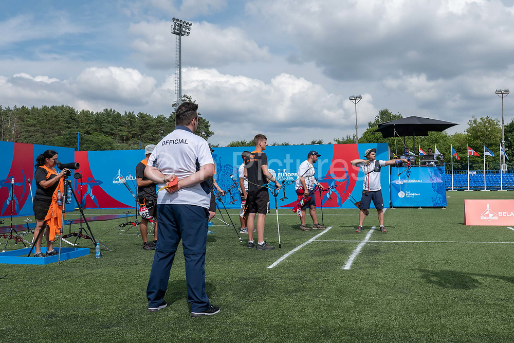 Jean-Charles Valladont for France against Holland during the Men's archery recurve team, gold medal match, at the Olympic Sports Complex on the 22nd June 2019 in Minsk in Belarus.