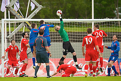 REYKJAVIK, ICELAND - Wednesday, May 28, 2008: Wales' goalkeeper Wayne Hennessey makes a save against Iceland during the international friendly match at the Laugardalsvollur Stadium. (Photo by David Rawcliffe/Propaganda)