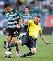 20100819: LISBON, PORTUGAL - Sporting Lisbon vs Brondby: UEFA Europa League 2010/2011 Play-Offs - First Leg. In picture: Helder Postiga (Sporting) and Mikael Nilsson (Brondby). PHOTO: Alexandre Pona/CITYFILES