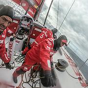 Leg 3, Cape Town to Melbourne, day 12, Xabie Fernandez  and Tamara Echegoyen on board MAPFRE. Photo by Jen Edney/Volvo Ocean Race. 21 December, 2017.