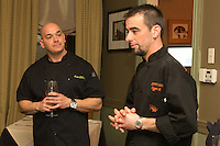 Chef Michael Scipione and Chef Geoff Johnson duke it out in a one on one cooking challenge at Copper Fish on Broadway in Cape May, Nj. The two chefs agreed to host a dinner pary at Johnson's restaurant on Friday, December 2 which featured eight courses, four recipes from each chef.  The Chefs were judged on each of their courses in a freindly competition featuring great food and lots of laughs.