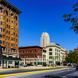 Reading, PA, USA - September 19, 2020: A view of the cityscape of Penn Street in downtown Reading, Berks County, PA.