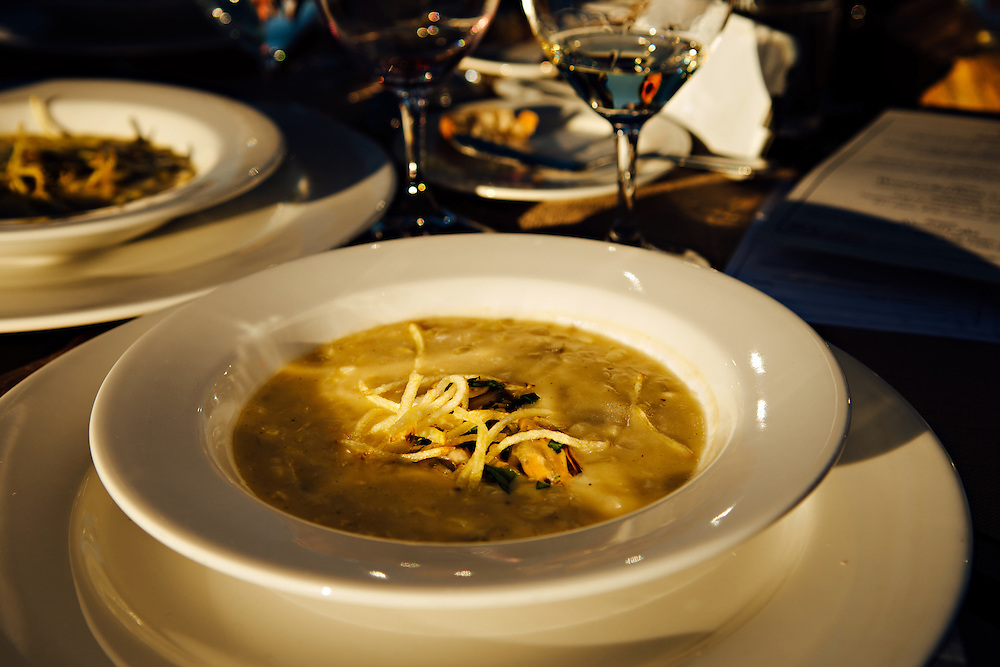 Sweet Corn and Smoked Mussel Chowder prepared by Seattle Chef, Tom Douglas at the Northstar Winery Harvest Dinner paired with Winemaker Dave Merfeld's wine.