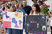 16 JUNE 2010 - PHOENIX, AZ: Debbie Alonson LEFT and her daughter, Celia Dudley wait to greet Dudley's husband at the 161st Air Refueling Wing hangar at Sky Harbor Airport in Phoenix Wednesday. Members of the 3666th Maintenance Company of the Arizona Army National Guard returned to Phoenix Wednesday after serving in Iraq.   PHOTO BY JACK KURTZ
